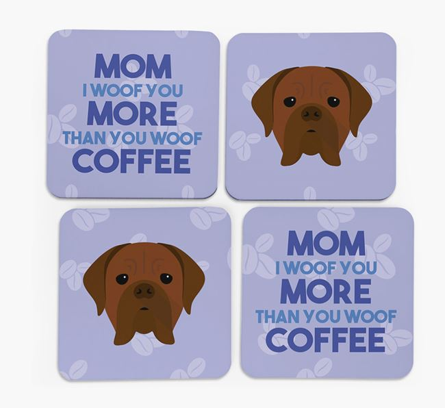 'More than Coffee' - Personalized Dogue de Bordeaux Coasters (Set of 4)