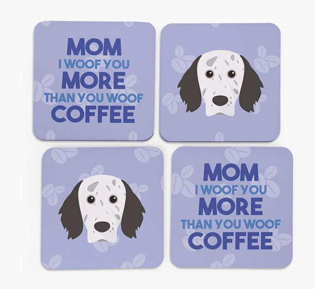 'More than Coffee' - Personalized English Setter Coasters (Set of 4)