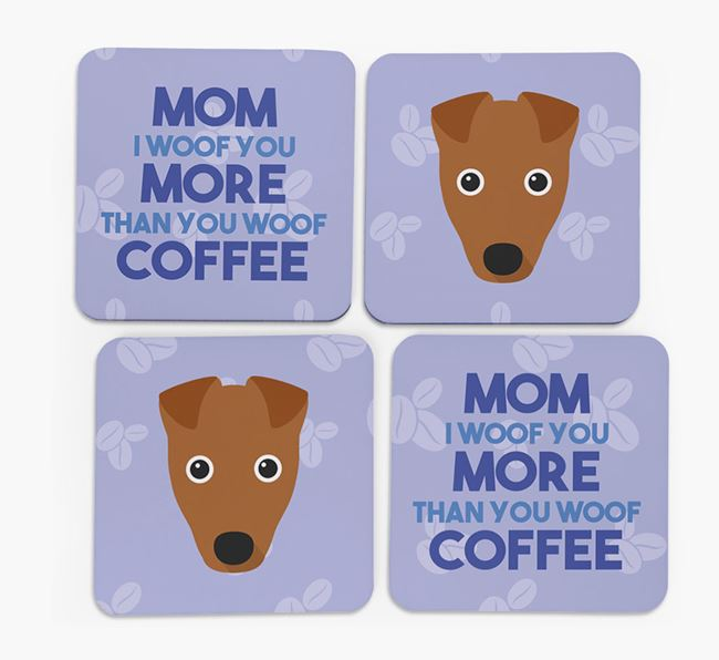 'More than Coffee' - Personalized Fox Terrier Coasters (Set of 4)