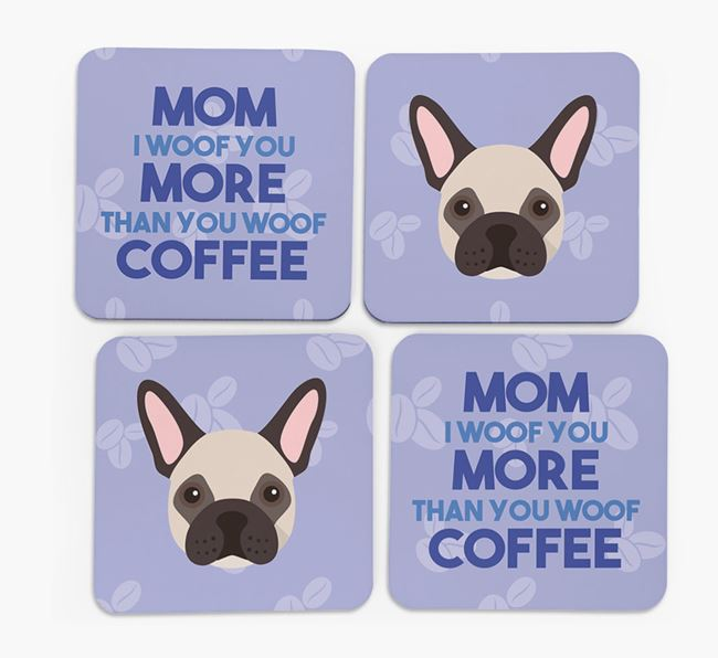 'More than Coffee' - Personalized French Bulldog Coasters (Set of 4)
