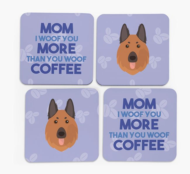 'More than Coffee' - Personalized German Shepherd Coasters (Set of 4)