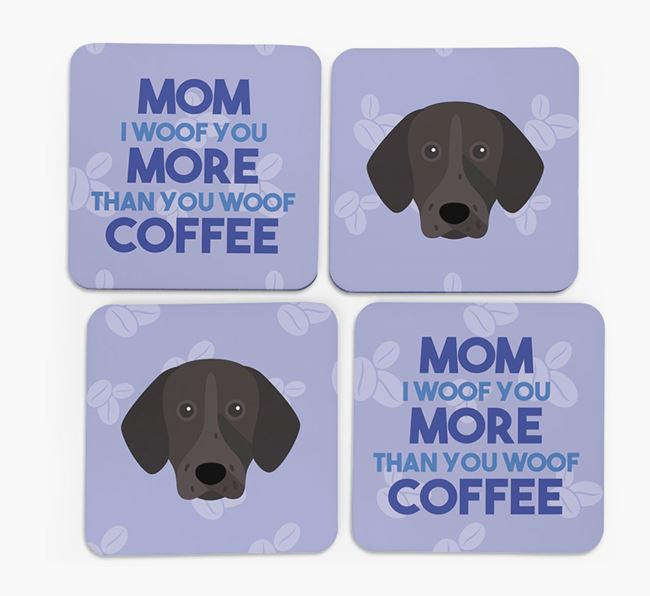 'More than Coffee' - Personalized German Shorthaired Pointer Coasters (Set of 4)
