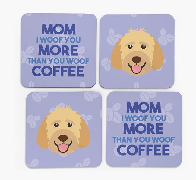 'More than Coffee' - Personalized Goldendoodle Coasters (Set of 4)