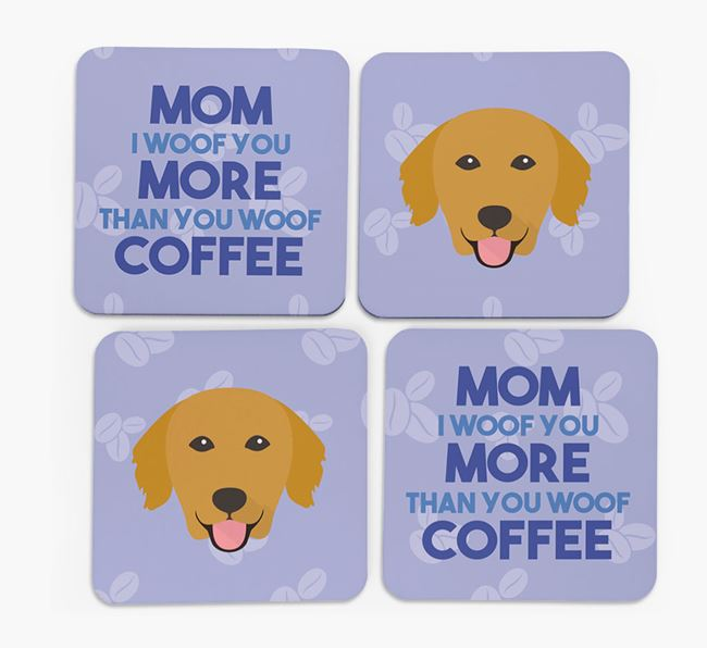 'More than Coffee' - Personalized Golden Retriever Coasters (Set of 4)