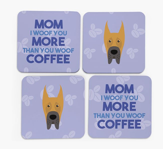 'More than Coffee' - Personalized Great Dane Coasters (Set of 4)