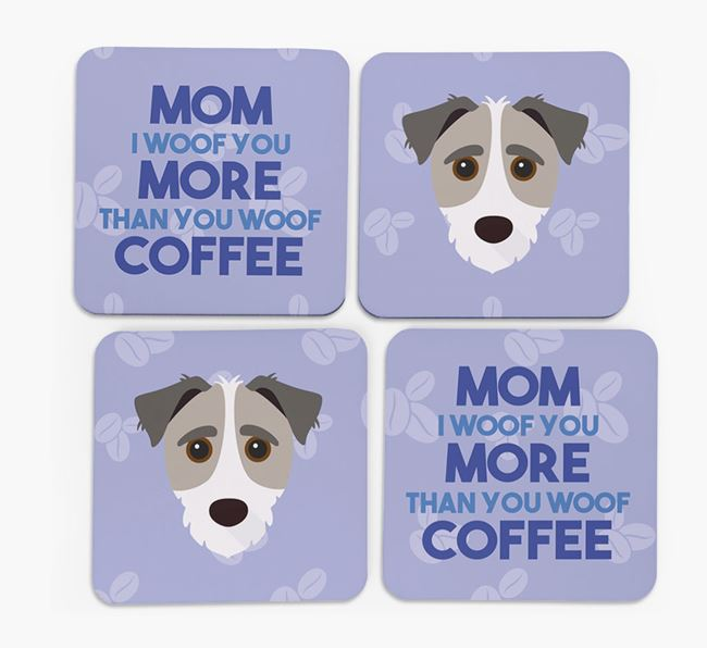 'More than Coffee' - Personalized Jack-A-Poo Coasters (Set of 4)