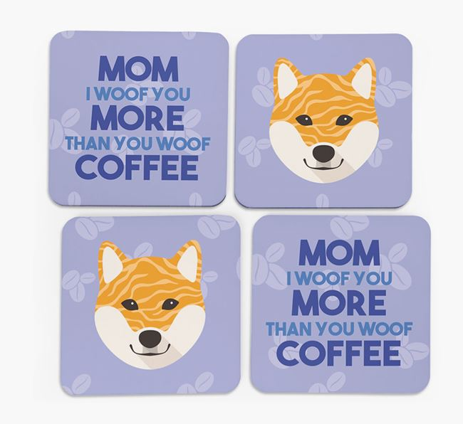 'More than Coffee' - Personalized Japanese Shiba Coasters (Set of 4)