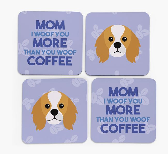'More than Coffee' - Personalized King Charles Spaniel Coasters (Set of 4)