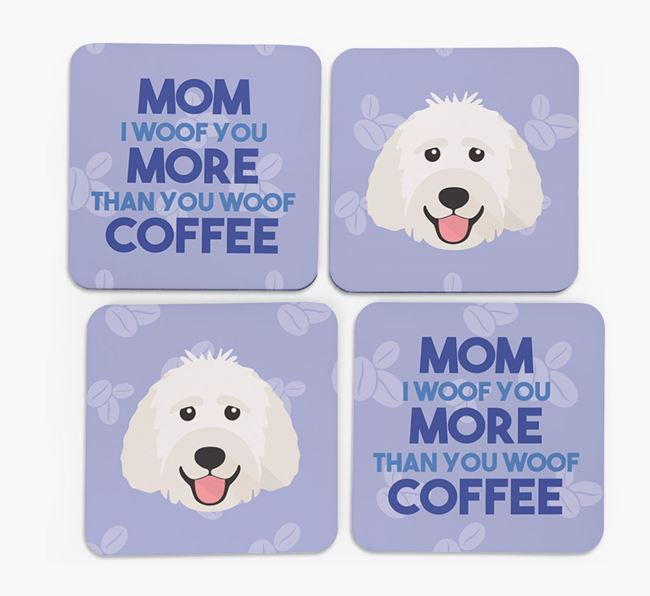 'More than Coffee' - Personalized Labradoodle Coasters (Set of 4)