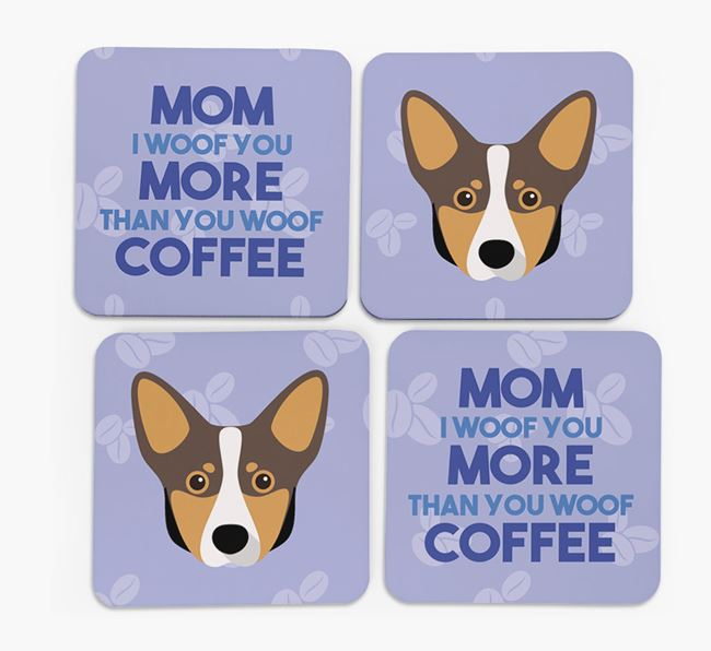 'More than Coffee' - Personalized Lancashire Heeler Coasters (Set of 4)