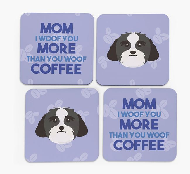 'More than Coffee' - Personalized Lhasa Apso Coasters (Set of 4)