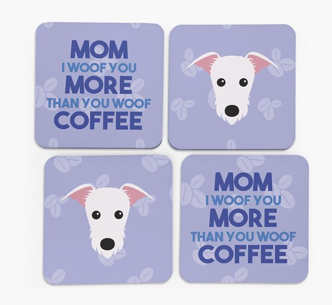 'More than Coffee' - Personalized Lurcher Coasters (Set of 4)