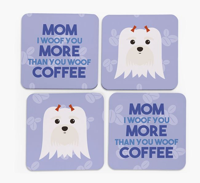 'More than Coffee' - Personalized Maltese Coasters (Set of 4)
