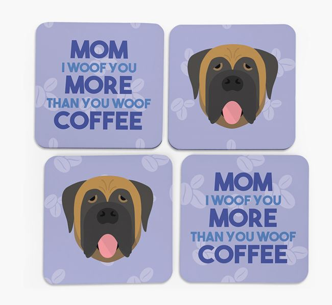 'More than Coffee' - Personalized Mastiff Coasters (Set of 4)
