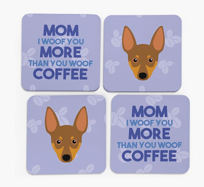 'More than Coffee' - Personalized Miniature Pinscher Coasters (Set of 4)