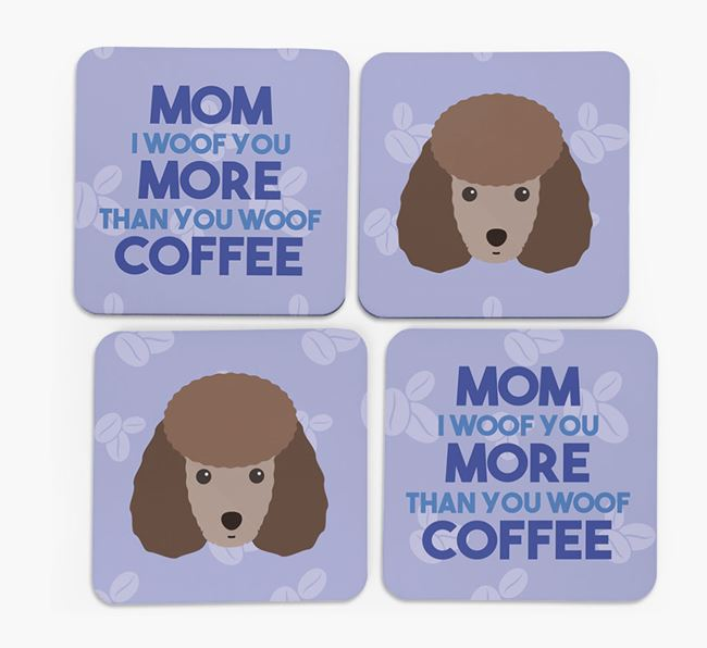 'More than Coffee' - Personalized Miniature Poodle Coasters (Set of 4)