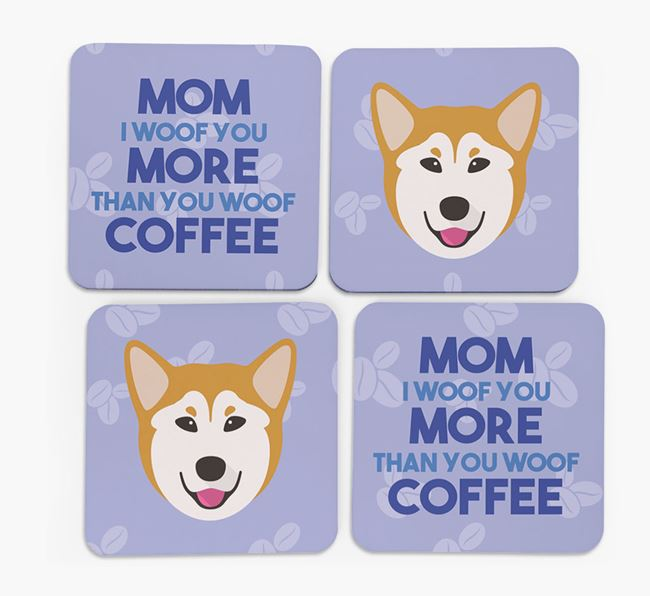 'More than Coffee' - Personalized Mixed Breed Coasters (Set of 4)
