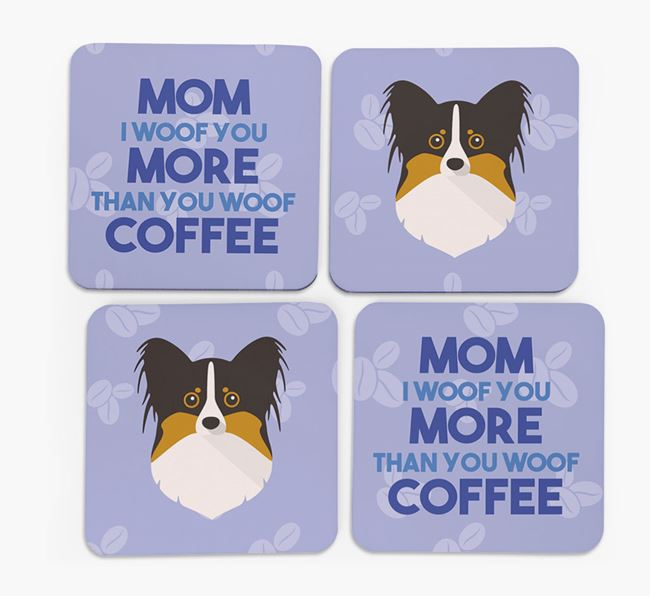 'More than Coffee' - Personalized Papillon Coasters (Set of 4)
