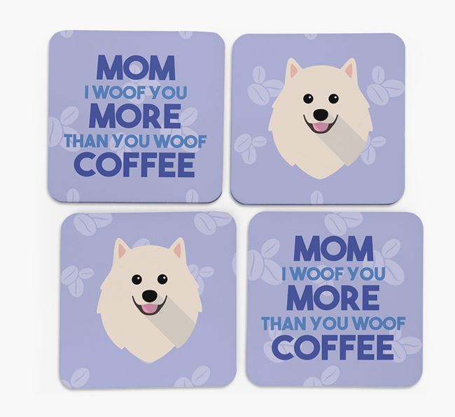 'More than Coffee' - Personalized Pomeranian Coasters (Set of 4)