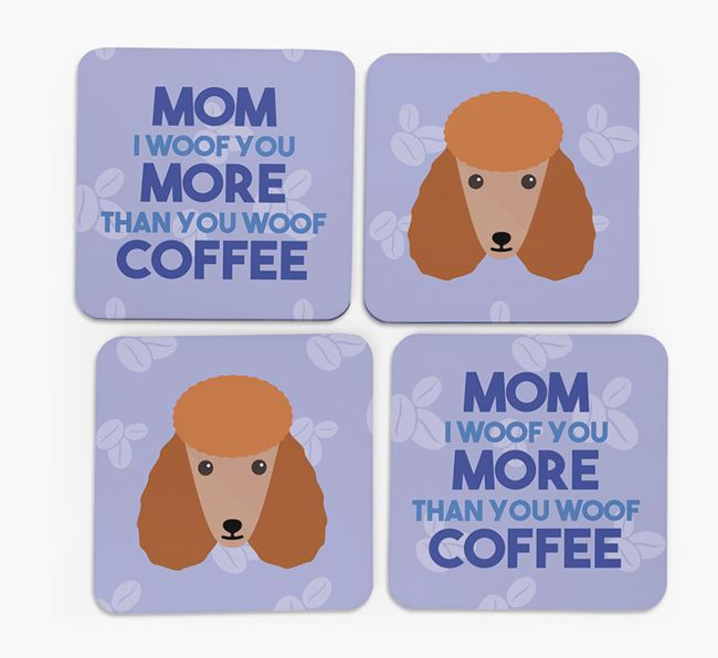 'More than Coffee' - Personalized Poodle Coasters (Set of 4)
