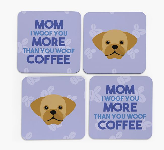 'More than Coffee' - Personalized Puggle Coasters (Set of 4)