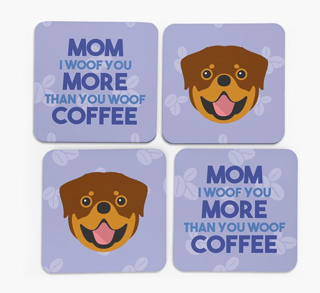 'More than Coffee' - Personalized Rottweiler Coasters (Set of 4)