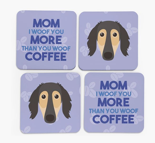 'More than Coffee' - Personalized Saluki Coasters (Set of 4)