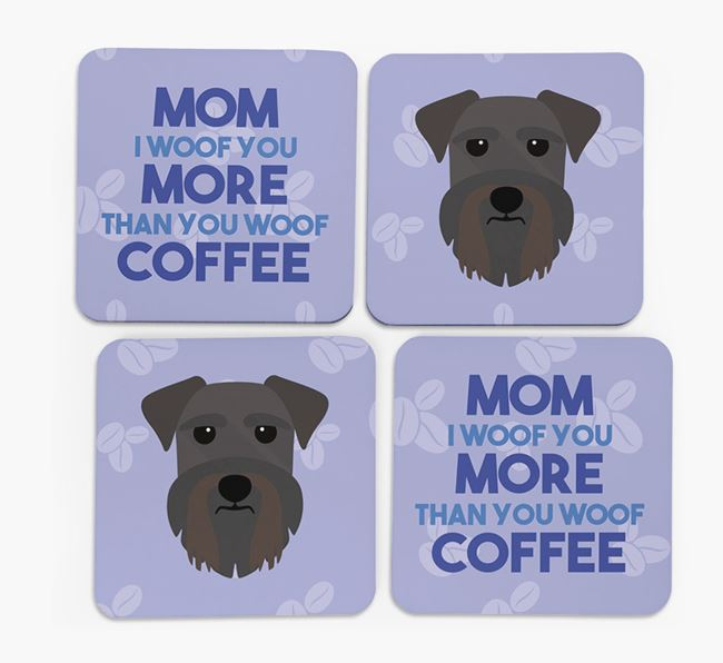 'More than Coffee' - Personalized Schnauzer Coasters (Set of 4)