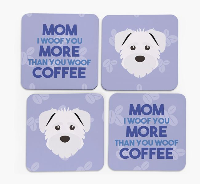 'More than Coffee' - Personalized Schnoodle Coasters (Set of 4)