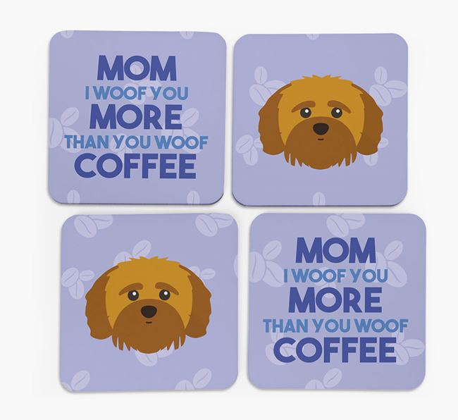 'More than Coffee' - Personalized Shih-poo Coasters (Set of 4)
