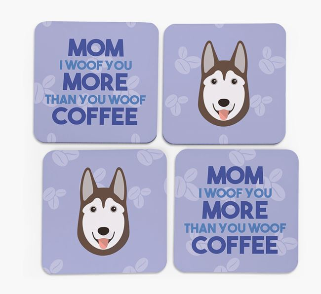 'More than Coffee' - Personalized Siberian Husky Coasters (Set of 4)