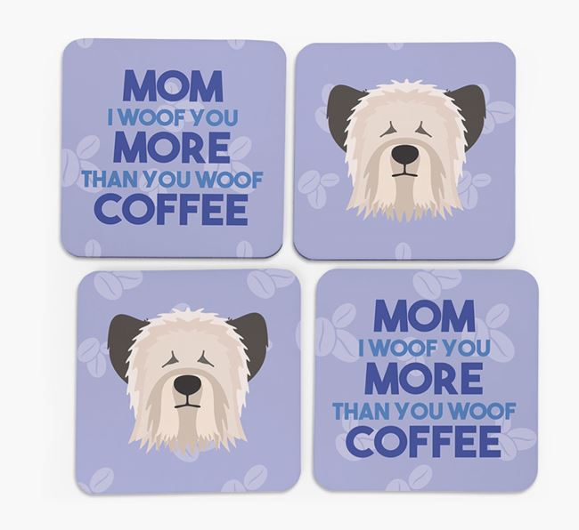 'More than Coffee' - Personalized Skye Terrier Coasters (Set of 4)