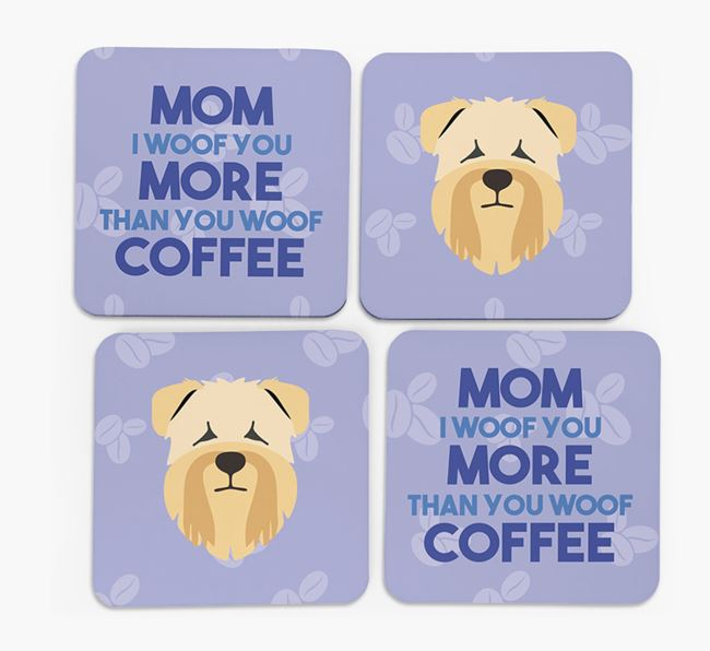 'More than Coffee' - Personalized Soft Coated Wheaten Terrier Coasters (Set of 4)