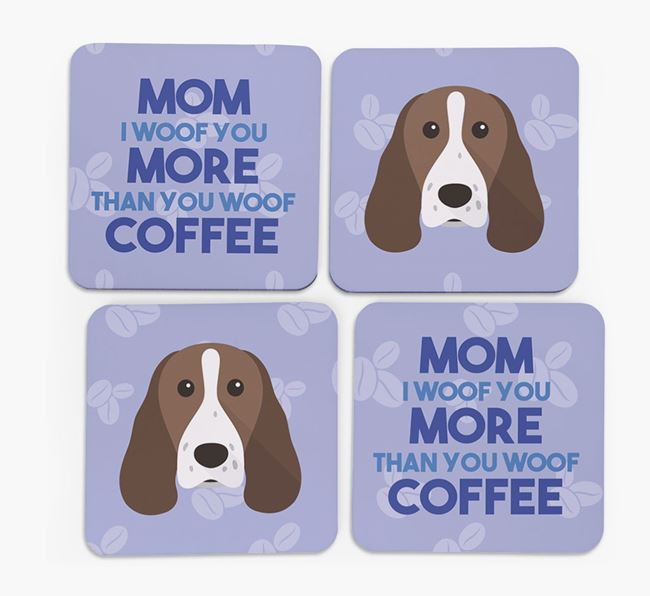 'More than Coffee' - Personalized Springer Spaniel Coasters (Set of 4)