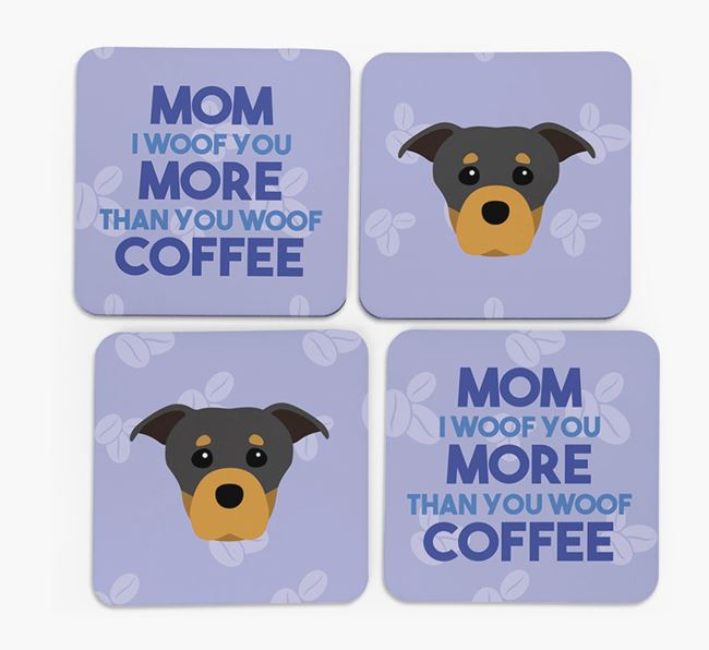 'More than Coffee' - Personalized Staffordshire Bull Terrier Coasters (Set of 4)