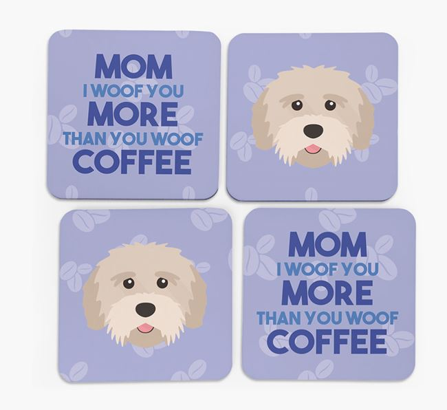 'More than Coffee' - Personalized Tibetan Terrier Coasters (Set of 4)