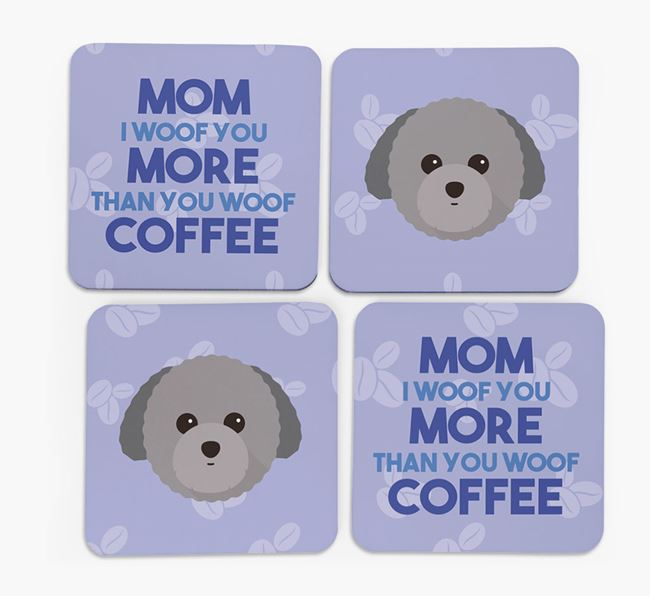 'More than Coffee' - Personalized Toy Poodle Coasters (Set of 4)