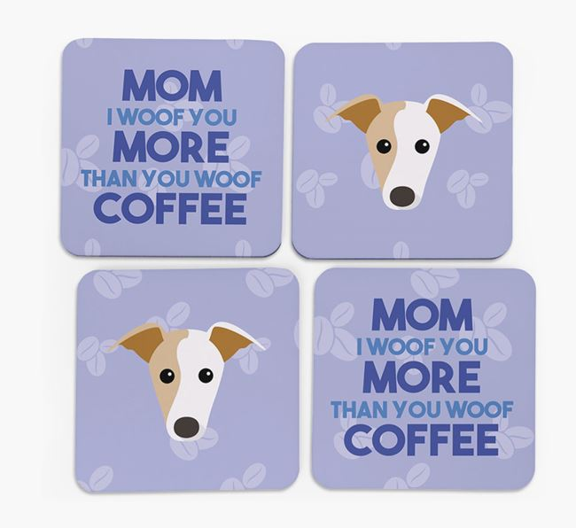 'More than Coffee' - Personalized Whippet Coasters (Set of 4)