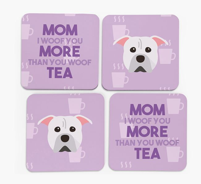 'More than Tea' - Personalized American Pit Bull Terrier Coasters (Set of 4)