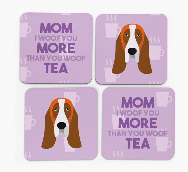 'More than Tea' - Personalized Basset Hound Coasters (Set of 4)