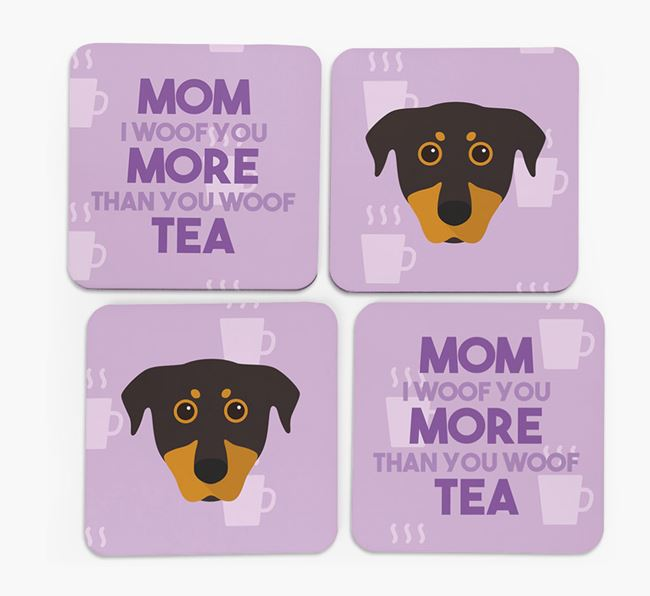 'More than Tea' - Personalized Beauceron Coasters (Set of 4)