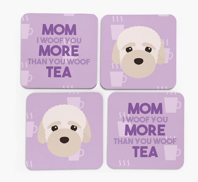 'More than Tea' - Personalized Bich-poo Coasters (Set of 4)