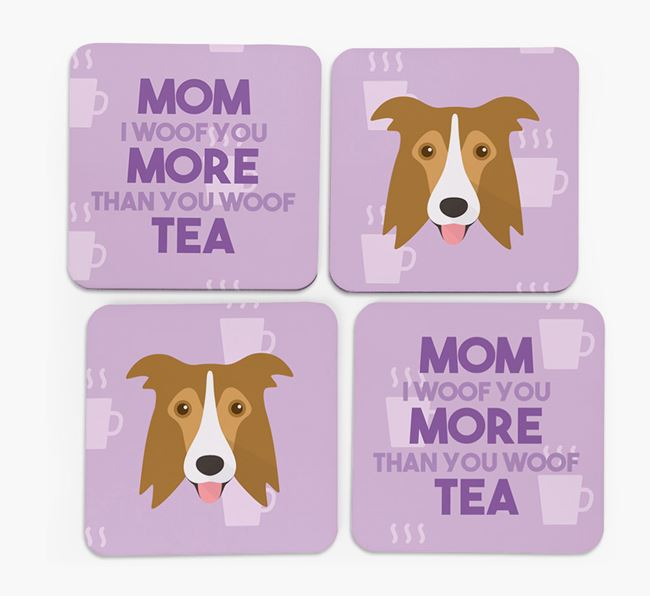 'More than Tea' - Personalized Border Collie Coasters (Set of 4)