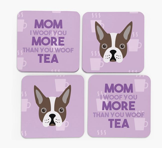 'More than Tea' - Personalized Boston Terrier Coasters (Set of 4)