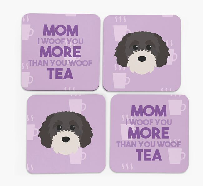 'More than Tea' - Personalized Cavapoochon Coasters (Set of 4)