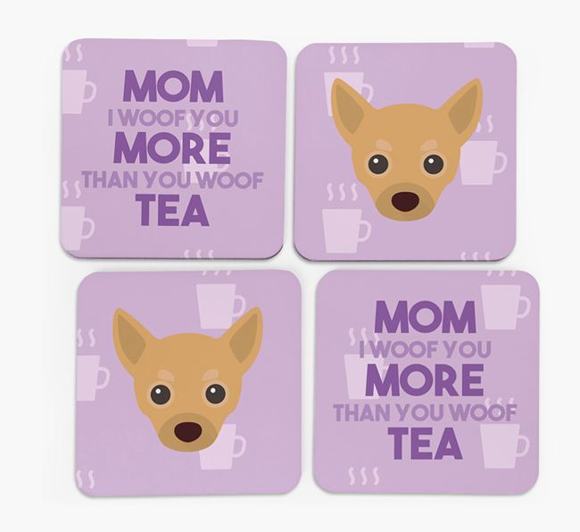 'More than Tea' - Personalized Chihuahua Coasters (Set of 4)
