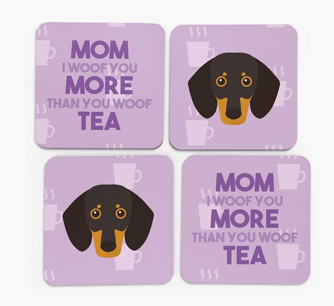 'More than Tea' - Personalized Dachshund Coasters (Set of 4)