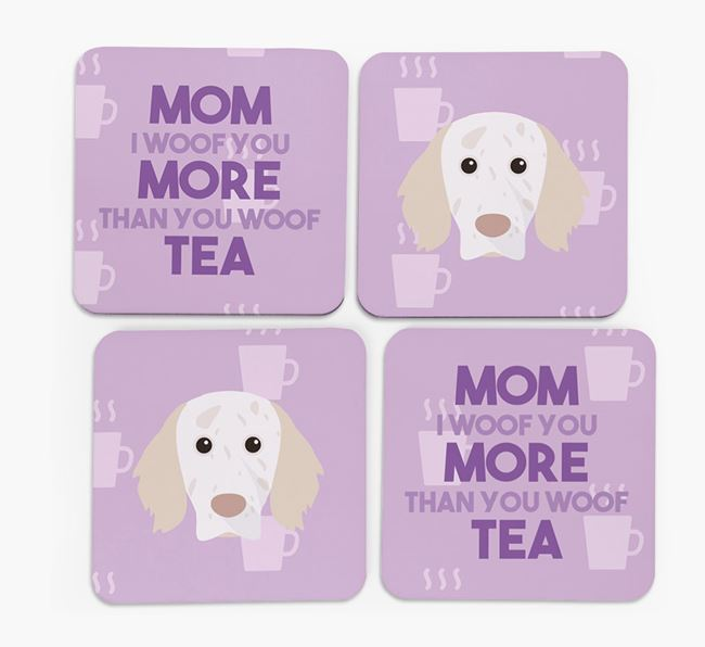 'More than Tea' - Personalized English Setter Coasters (Set of 4)