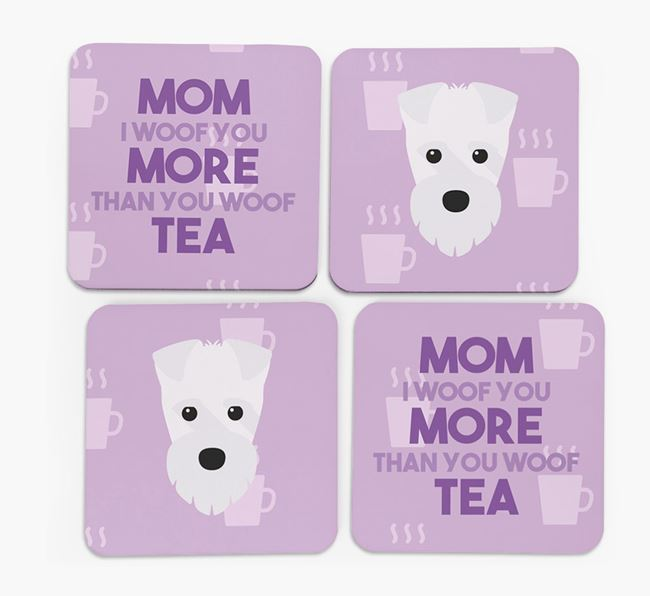 'More than Tea' - Personalized Fox Terrier Coasters (Set of 4)