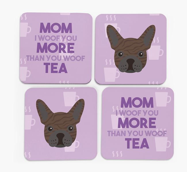 'More than Tea' - Personalized French Bulldog Coasters (Set of 4)